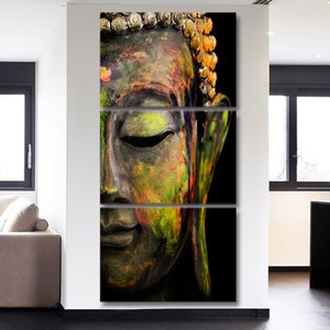 Large Canvas Framework Oil Fashion Painting Wall Art 3 Piece Buddha Printed Modular Picture For Bedroom Living Room Home Decor