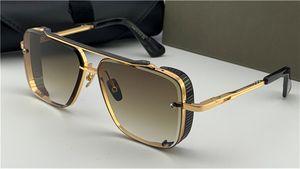 Nouveau design populaire lunettes de soleil TOP édition limitée de six hommes conception K or rétro lentille de coupe de cristal cadre carré avec détachable grille