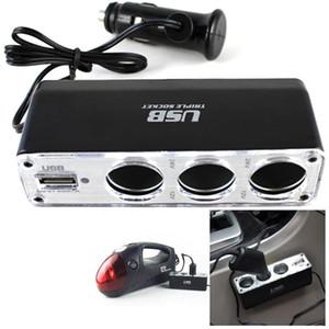 Автомобильного прикуривателя Мульти Оправа Тройной разветвитель USB зарядное устройство DC 12V / 24V Автоаксессуары Адаптер с USB-портом
