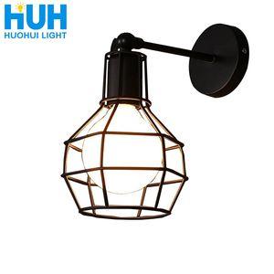 أمريكي عتيق E27 Led قفص مصباح حائط حديدي أسود أضواء غرفة نوم Bar Counter Sconce Retro Indoor Reading Multi-site Lamp