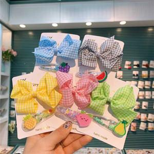 5set lot New Children Headwear Plaid Bow Hair Clip Girls Sweet Headdress Transparent PVC Fruit BB Clip For Kids Hair Accessories