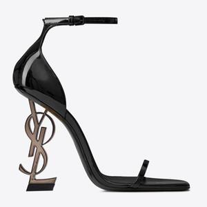 Charol negro Tacón gris Moda Zapatos de novia de la boda Moda modesta Eden Tacón alto Fiesta de mujer Zapatos de vestir de fiesta de noche Tacón de 10 cm