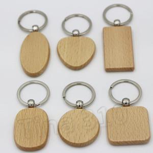 Keychain en bois blanc porte-clés en bois voiture Pendentif Une variété de formes coeur carré rond Key Ring Party Favor T2C5131