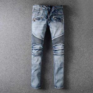 2020 Men's Distressed Ripped Skinny Jeans Fashion Designer Mens Jeans Slim Motorcycle Moto Biker Causal Mens Denim Pants Hip Hop Men Jeans