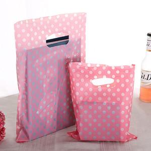 Pink White Dot Presente sacos de plástico com alças 15 * 20cm New Plastic Packaging Para Mini Atacado Jóias