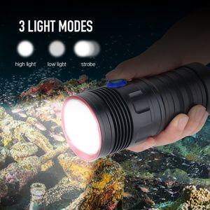 Panyz 5 * Diving XM-L2 LED Scuba torcia elettrica 5000LM 3-Mode Diving Video Fotografia torcia subacquea 80M 18650 Spearfishing Luce