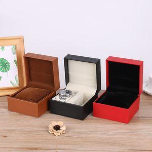 caixa de relógio de couro Fabricantes processamento estojo de couro relógio personalizado plástico barato presente da jóia de casos de viagem de inspeção