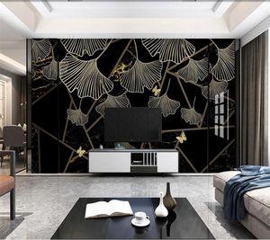 Изготовленный на заказ большой настенный художник с современным светом роскошная абстрактная геометрическая черная золотая листовая мраморная фоновая фреска обои
