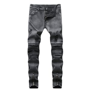 Pop2019 Foreign Trade Cross Border Male European Men's Snow Bound Feet Slim Holes Locomotive Fold Jeans