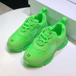 2020 children's sports shoes sale designer children's shoes neon light yellow box high quality children's shoes boy luxury