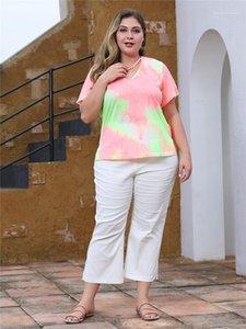 Casual V Neck Short Sleeve Printed Womens T-Shirts Designers Womens Tees Summer Fashion Plus Size Ladies Tees