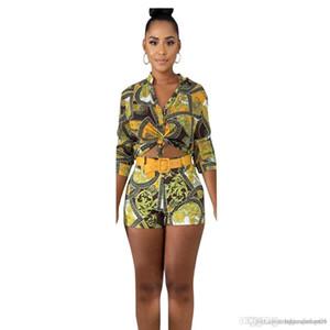 Frauen Sommer Designer 2Pcs kurze Hosen mit Blumen Schärpen mit V-Ausschnitt Damen Kleidung Floral Sexy Lässige Kleidung Drucken Drucken