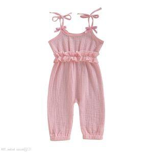 Ins elegante neonato Baby Girls Tute Pagliaccetti Design estivo Blank Ruffles vestiti Tute Toddler Outfits Cotton Body Suspender 0-2t