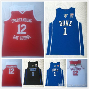 2019 Hot Spartanburg Day School # 12 Sion Williamson maglie Duke collegio # 1 ricamati maglie da basket jersey liceo