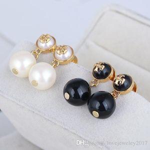 Rose Gold Round Pearl Earrings in white black color design for women Gold Elegant Studs lovely girl Earrings fashion jewelry