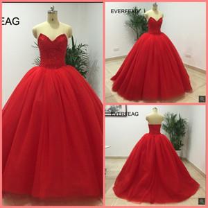 Ücretsiz kargo kırmızı prenses balo boncuk kristaller sparkly balo elbise straplez sevgiliye boyun çizgisi prenses kabarık zarif balo ...