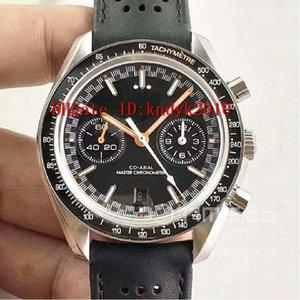 Bester Verkauf Racing 329-32-44-51-01-001 Co-Axial Chronograph OMF Edition Orange Dial auf schwarzes Lederarmband A.9900 Edelstahl-Uhr