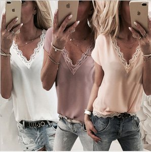 2019 European spring and summer hot solid color V-neck hem lace short-sleeved t-shirt chiffon shirt female, support mixed batch