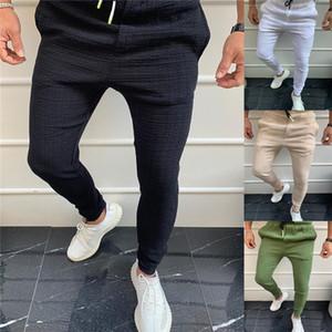 Mens Lace Up Pencil Pants Casual Solid Color Mid Waist Sport Pants Male Designer Trousers