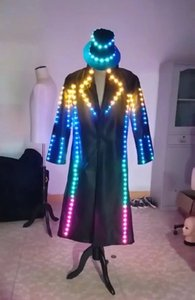 RGB Windbreaker Led Luminous Dance Suit Led Light Up Stage Performance Party Evento Ropa Ropa Led Salón de baile