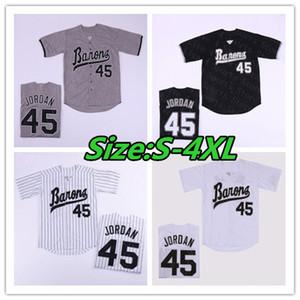 남자 버밍엄 남작 45 마이클 MJ 저지 블랙 화이트 그레이 스티치 영화 야구 유니폼 싸구려 믹스 주문 사이즈 S-4XL