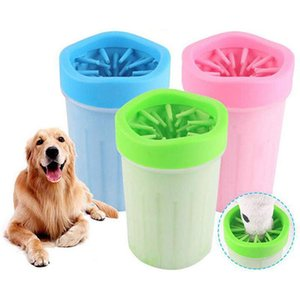 Escova de silicone macio Pet Pé Washer Copa do cão de filhote de Pé Washer sujos Ferramentas de lavagem suave Pet apertar a mão Pé Cup Limpeza