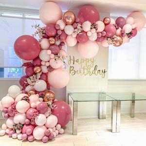 """Globo de látex 350pcs Macaron en colores pastel Garland Kit retro rosa polvoriento Doble Capa 5 """"-18"""" fiesta de cumpleaños boda Globos Decoraciones"""