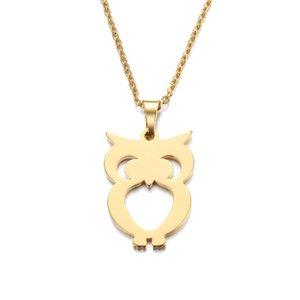 Mode-Qualitäts-Edelstahl-Halskette für Frauen-Mann-Geliebten Owl Gold und Silber Farbe Anhänger Halskette Verpflichtungs-Schmucksache-Partei