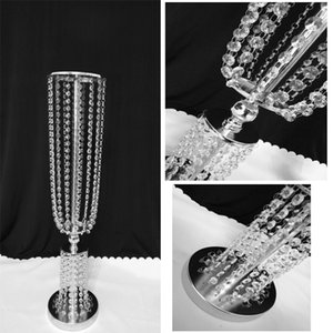 2pcs Acrylic Crystal Flower Wedding Vases Lead Road Wedding Decor Centerpiece Event Table Decoration 80cm Height