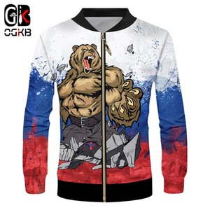 OGKB Brand Russia Bear Men Zip Jacket 3d Whole Body Printing War Casual 2019 Cool Harajuku 6XL