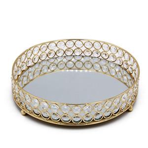 معدن كريستال جولة الحلويات كب كيك تخدم علبة المجوهرات حامل لوحة ل مكتب فندق الزفاف الديكور المنزل