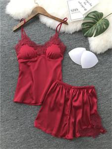 Solido intima di colore canotta Tops Pantaloni corti Pajama Set donne sexy in pizzo con scollo a V Sleepwear sottile di modo signore