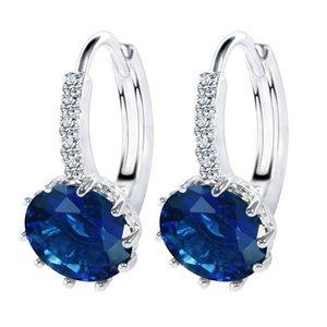2019 Ear Stud Earrings For Women 11 Colors Round With Cubic Zircon Charm Flower Stud Earrings Women Jewelry Gift diamond earings