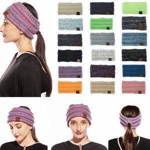 19Colors malha Crochet Headband Rabo Mulheres Winter Sports Headwrap Hairband Turban Ear Beanie Cap Warmer Carta Headbands LJJA3174