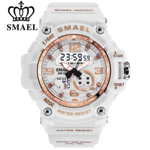 Smael Mulheres Moda Esporte Relógios Ladies impermeáveis Student Multifuncional Relógio de pulso Digital LED Quartz Branco Assista Girl Clock V191116