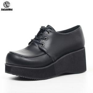 Rockabilly Casual sapatos Lace Up Creeper Plataforma de JIALUOWEI Novo Estilo Unisex 36-46