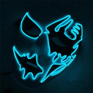 Смешное платье партии LED светящаяся Маска унисекс и свободный размер Хэллоуин Маска уличный танец ручная роспись