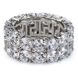 2018/19 JewelryStore999 hot New Gold Silver Color Plated Micro Paved 2 Row Tennis Chain Big Zircon Hip Hop Anillo de dedo para hombres Mujeres
