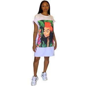 T Shirt Dress Women Short Sleeve Character Print Tunic Mini Streetwear Dress Ladies Loose Short Casual Cotton Dresses