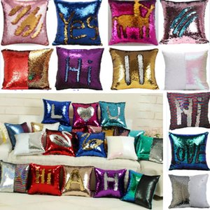 39Colors Sequin Pillow Case Cover Mermaid Throw Glitter Pillow Cover Reversible Sofa Magic Double Car Cushion Cover Christmas Gifts HH7-276