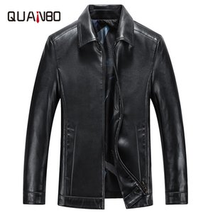 Spring and Autumn Quality Men Genuine Leather Jacket Business Casual Sheep skin Turndown Coat Black Men Biker Leather Jacket