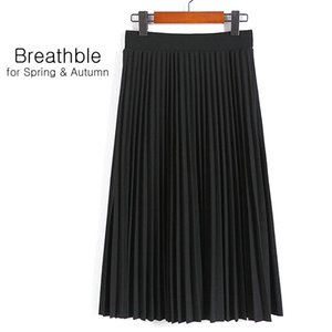SheBlingBling Spring Autumn Fashion Women's High Waist Pleated Solid Color Half Length Elastic Skirt Promotions Lady Black Pink CX200701