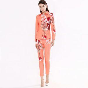 Twinsets pista delle donne Turn Down Bow Collar lunghe maniche di camicia con stampa floreale Pantaloni due pezzi Pant Set Suit