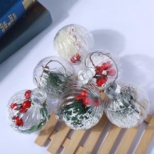 Venta caliente transparente de Navidad bola de plástico bolas de Navidad tres diseños cabidos colgante de interior Decoración de fiesta ornamentos creativos de 2 E1 8GN