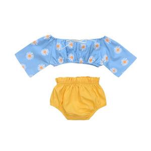 2019 del bambino del bambino scherza il bambino di girasole Off Tops spalla + Shorts Outfits Set