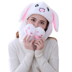 Girls Animals Ear Moving Jumping Hats Children Women Warm Plush Rabbit Winter Caps Kids Cute Bunny Fuzzy Pinch Airbag Funny Hats