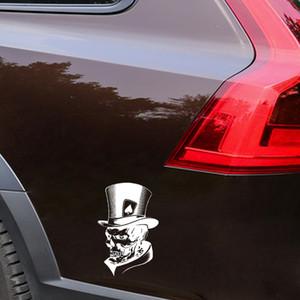 YJZT 11.3 * 17.6CM Belle Joker Squelette Crâne Cartes à Jouer Poker Monster Chapeau Autocollant De Voiture Vinyle C12-0010 Livraison Gratuite