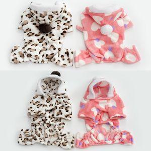 Coral Velvet Pet Dog Kleidung Hund Hoodies Leopardenmuster Herz Mantel Warm Pet Apparel Fashion 8 5hy Uu