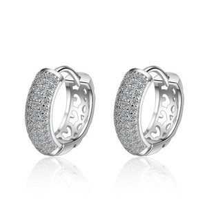 Crown Princess Cross Double Row Diamond Earrings Luxury Designer Jewelry Shiny Zircon Stud Earrings Silver Round Nail