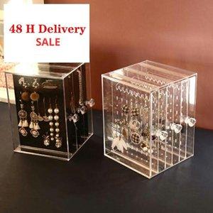 Transparent Jewelry Storage Box Earring Display Stand Storage Box Organizer Drawer Storage Rack Necklace Jewelry Display Cabinet Y200628
